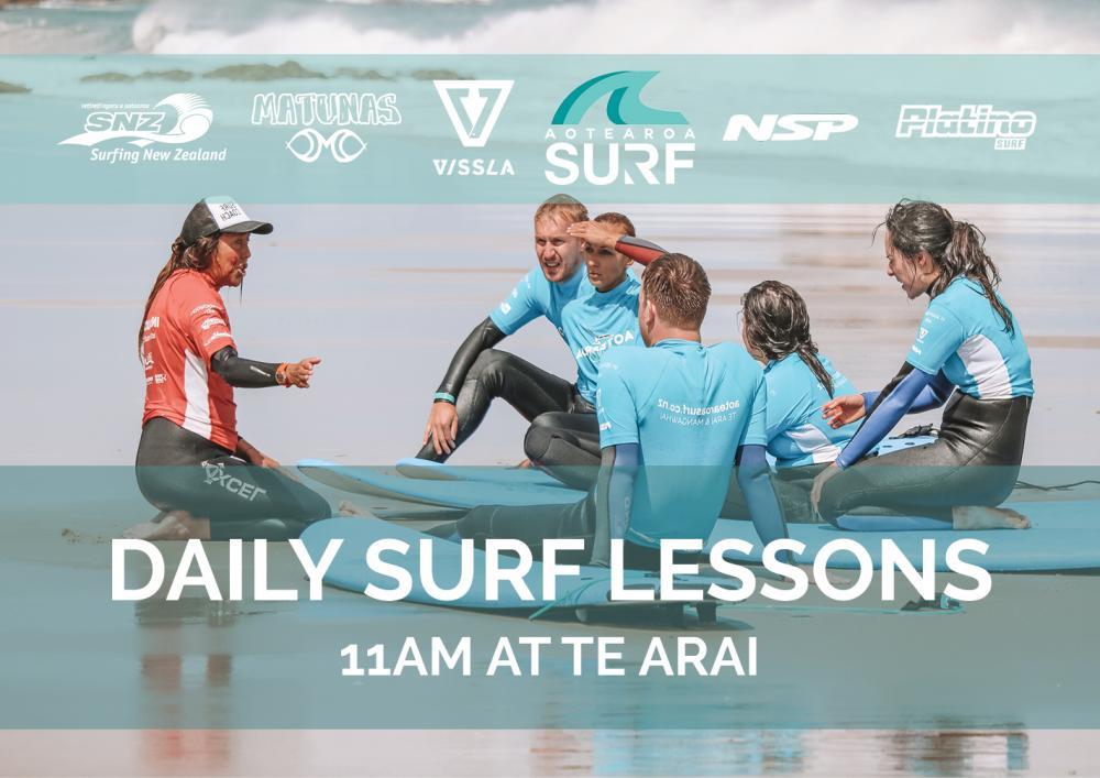 Daily Surf Lesson (All Ages) 11am at Te Arai