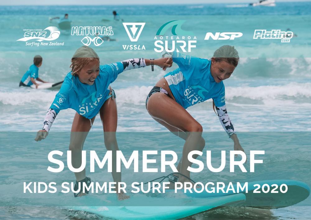 Kids Summer Surf Program (ages 6-15) at Te Arai